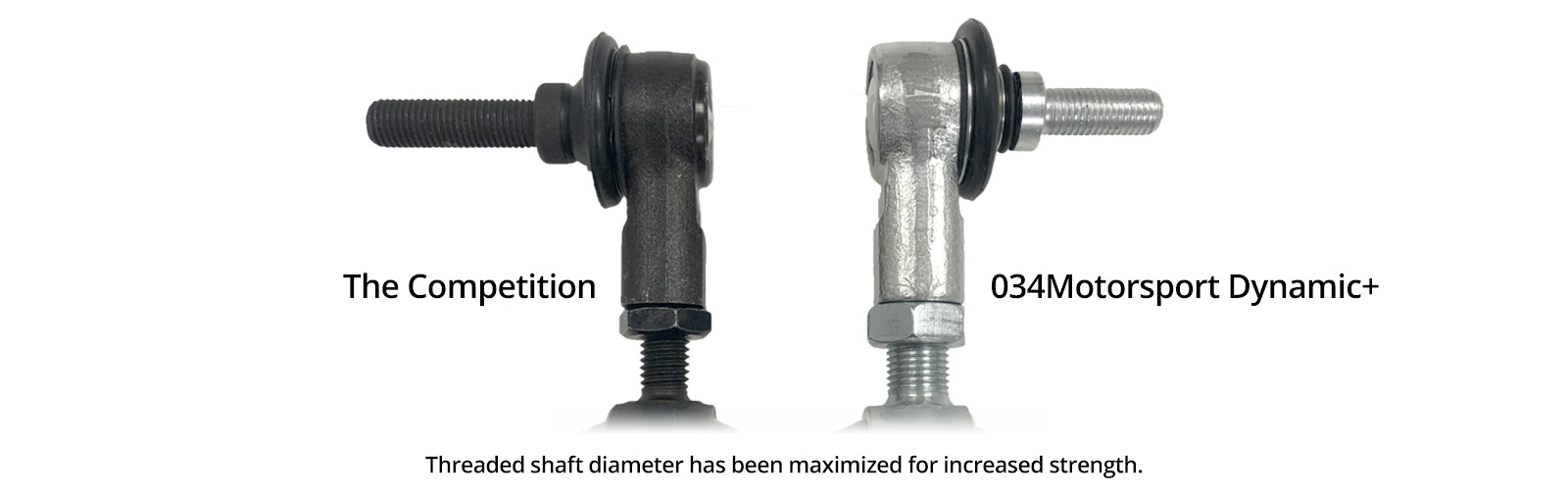 Maximized threaded shaft diameter increases overall strength of the end link.