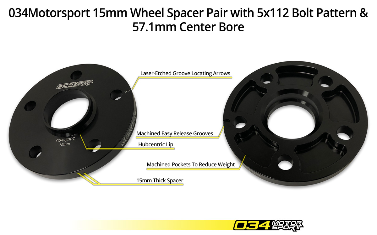 034Motorsport 15mm Audi/Volkswagen Wheel Spacer Pair 5x112mm