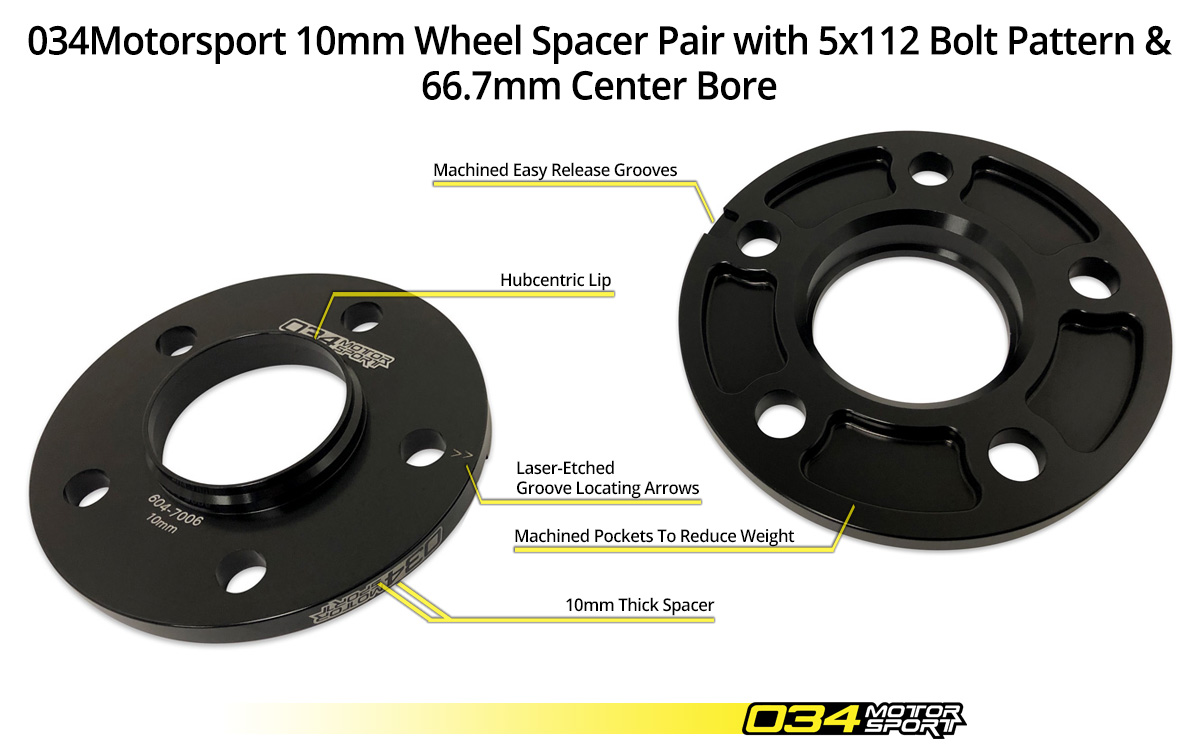 034Motorsport 10mm Audi/Volkswagen Wheel Spacer Pair 5x112mm