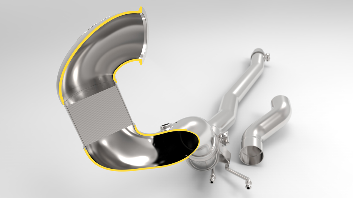 034Motorsport MQB Cast Downpipe Cutaway Render