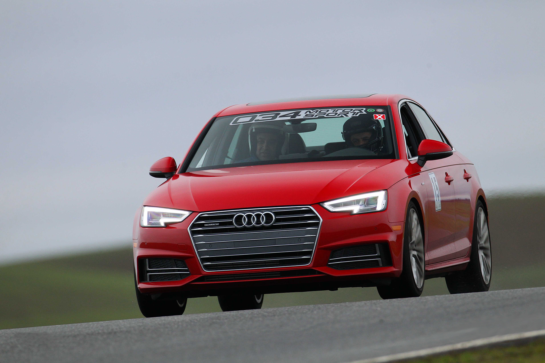 Lowered B9 Audi A4 in Tango Red - On Track at Thunderhill