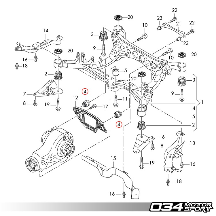 034motorsport rear differential carrier mount insert upgrade kit  b8 audi a4  s4  rs4  a5  s5  rs5