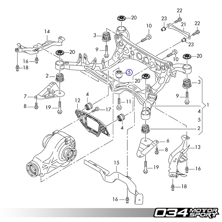 034motorsport rear differential mount upgrade kit  b8 audi