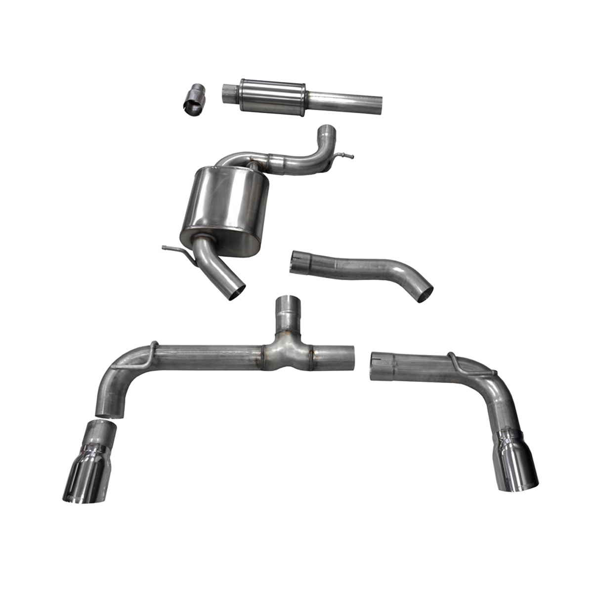 Corsa Performance MKVII Volkswagen Golf/GTI 2.0 TSI Cat-Back Exhaust System - Polished Tips