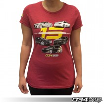 034Motorsport 15th Anniversary Commemorative T-Shirt, Heathered Red, Women's 034-A01-1021-W
