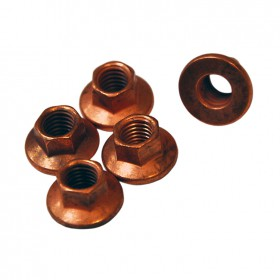 Hardware, 8mm Copper Plated Steel Lock Nut, M10 Wrench Head