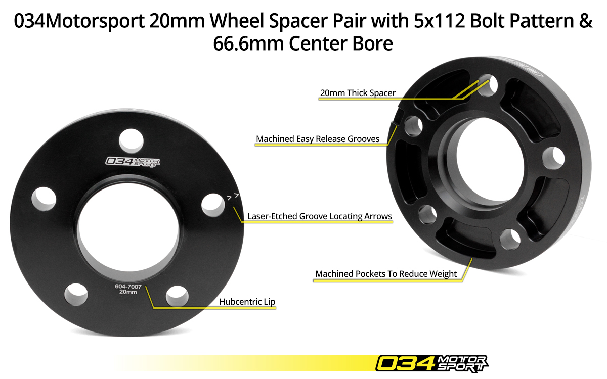 034Motorsport 20mm Audi/Volkswagen Wheel Spacer Pair 5x112mm